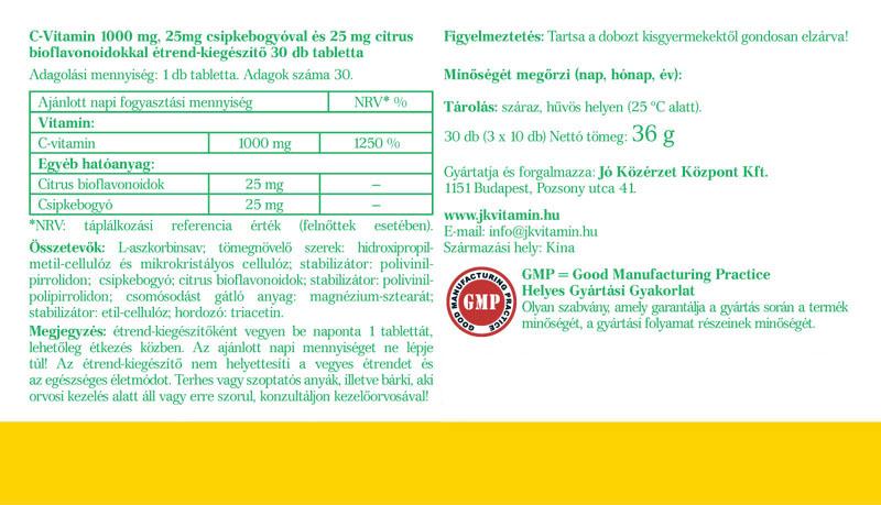 Jó Közérzet C-vitamin Csipkebogyóval és Citrus Bioflavonoiddal cimke