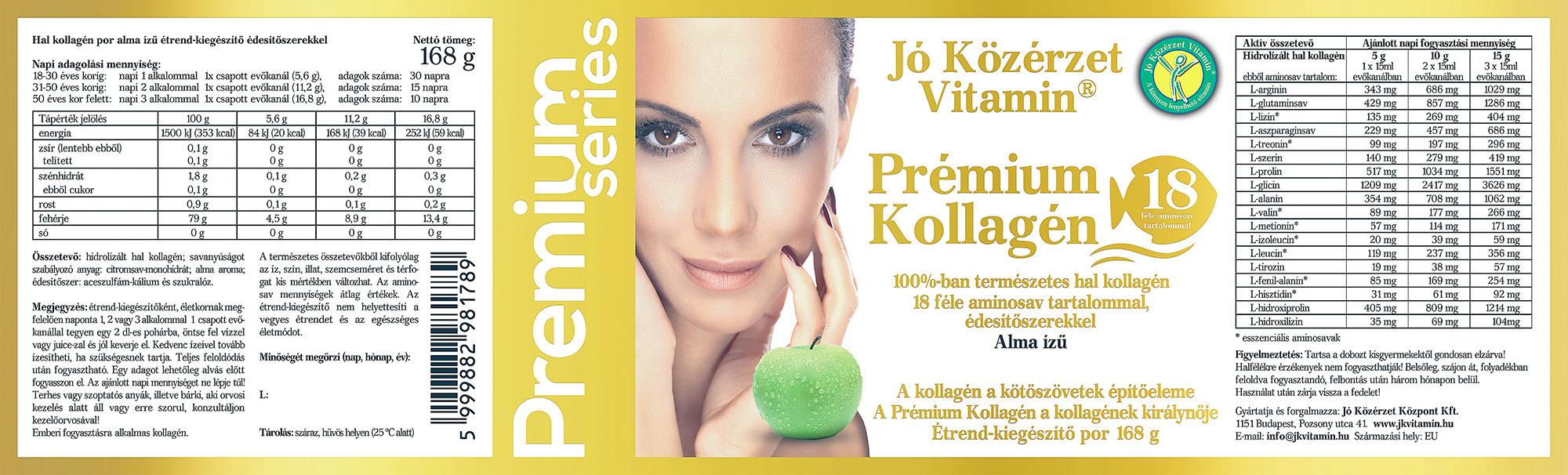 Premium Series Prémium Kollagén Alma ízű címke