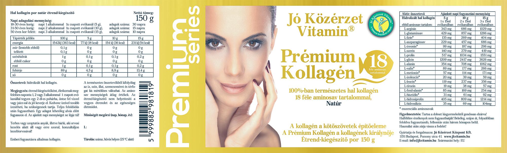 Premium Series Prémium Kollagén Natúr címke