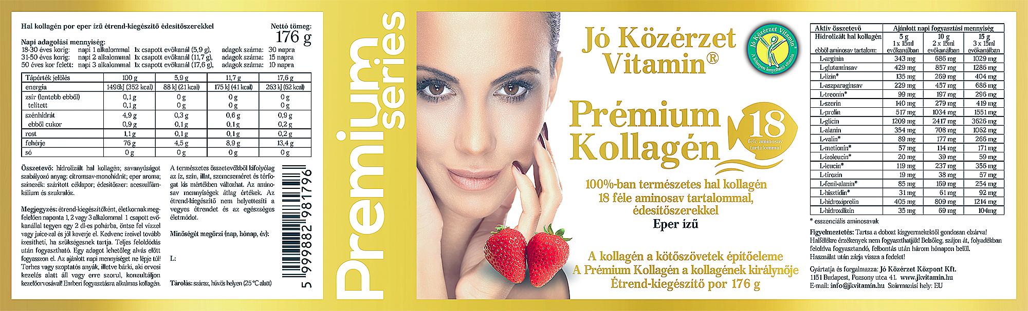 Premium Series PrémiumKollagén Eper ízű címke