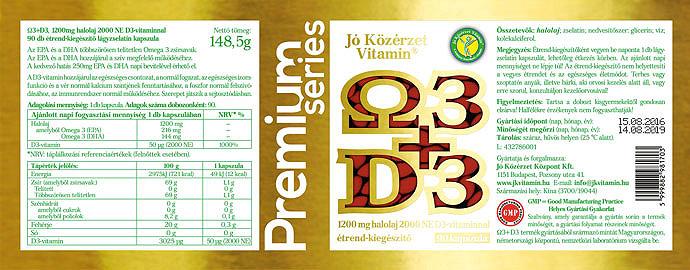 Jó Közérzet Prémium Omega 3+ D3-vitamin 90 szemes cimke