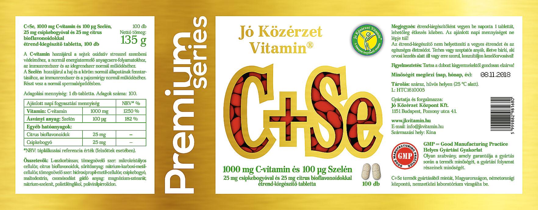 Jó Közérzet C-vitamin + Szelén Csipkebogyóval és Citrus Bioflavonoiddal cimke