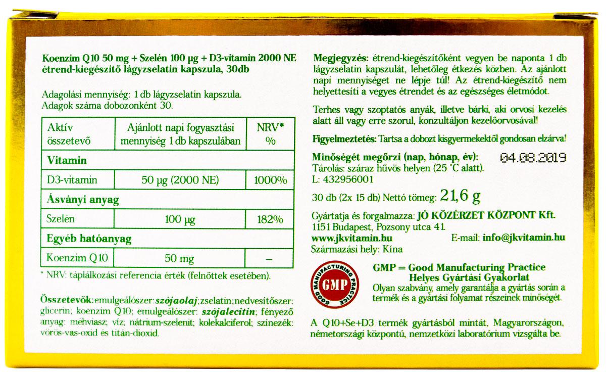Jó Közérzet Vitamin Prémium Q10+Se+D3 cimke