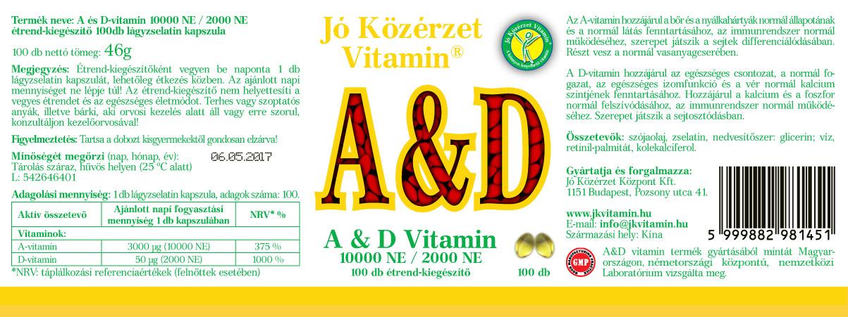 Jó Közérzet Vitamin A és D vitamin cimke