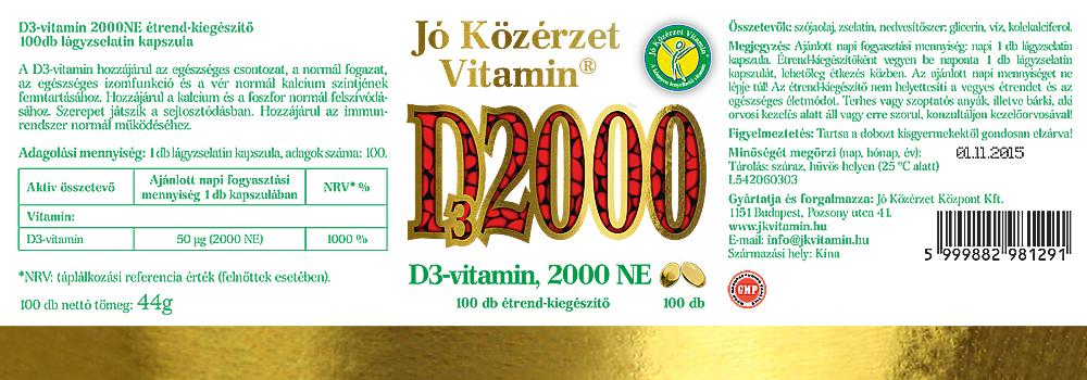 Jó Közérzet Vitamin D-vitamin 2000NE cimke