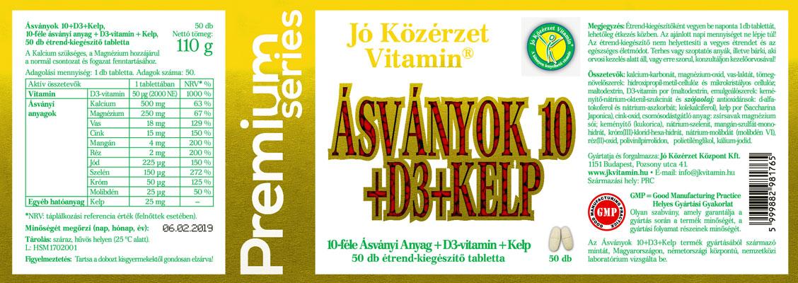 Jó Közérzet Vitamin Prémium Ásványok 10 + D3-vitamin + Kelp cimke