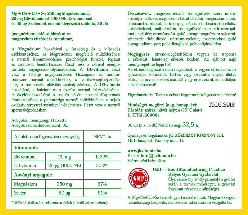 Jó Közérzet Vitamin Mg+B6+D3+Se cimke