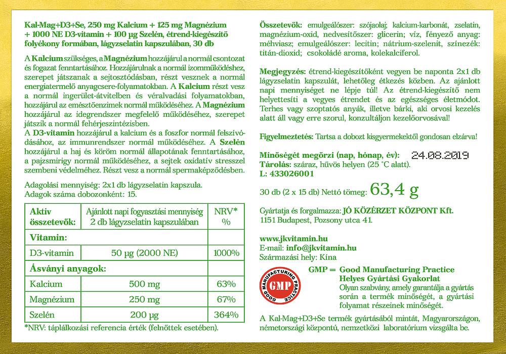Jó Közérzet Vitamin Prémium Kalcium-Magnézium D3-vitaminnal cimke és Szelénnel