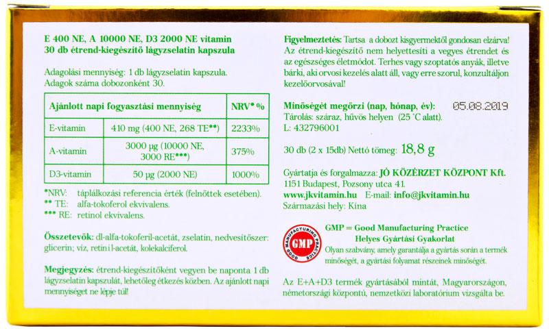 E+A+D3 vitamin hátoldal, termékösszetevők